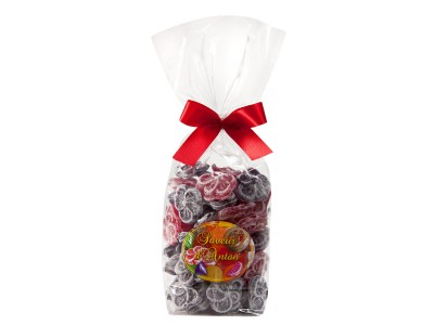 Confectioner packet of hard boiled Voilet-Poppy sweets 200g