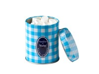 Blue and white squares decorated tin of Vichy Pastilles 280g