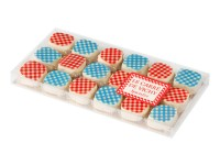 Box of red and blue Vichy square chocolates 180g